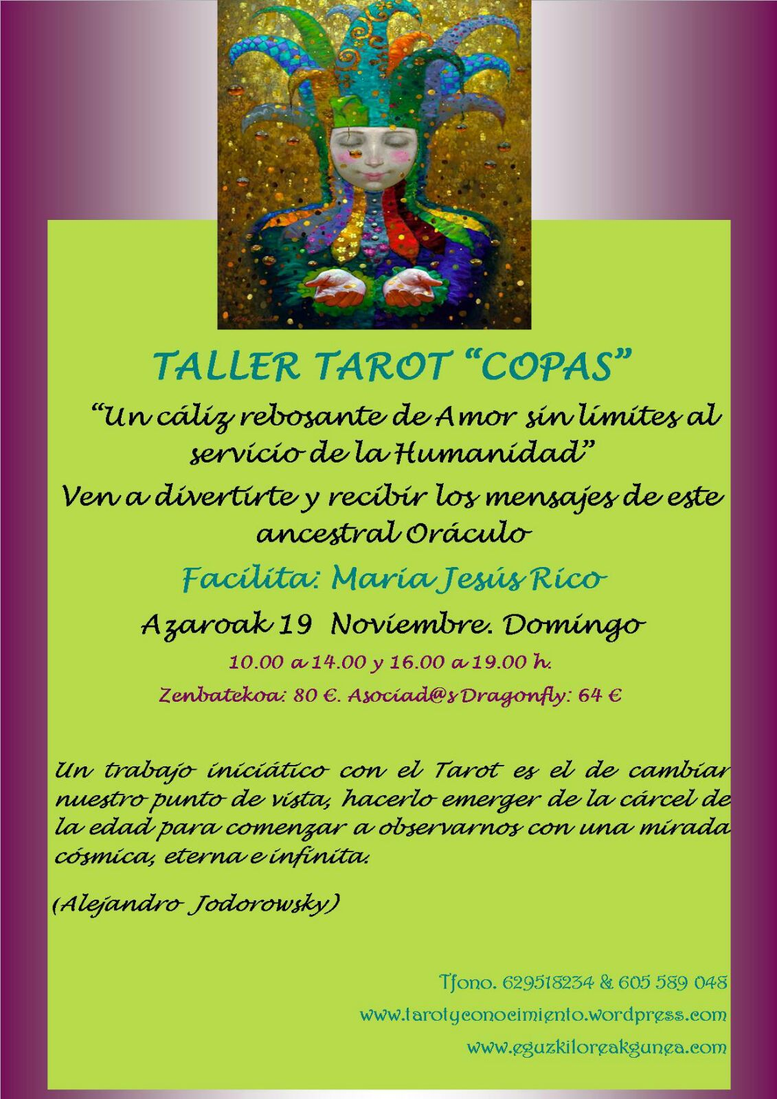 """TALLER DE TAROT """"COPAS"""" ESTE DOMINGO 19 DE NOVIEMBRE"""