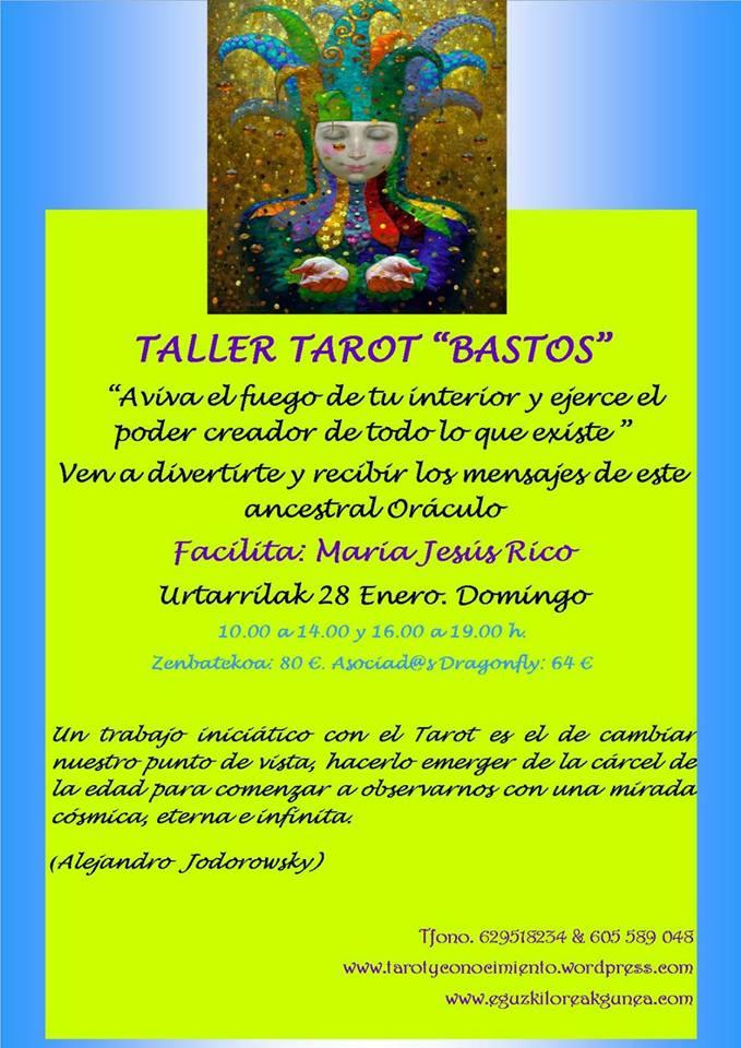 """TALLER TAROT """"BASTOS"""" EN EGUZKILOREAK CON MARIAJE RICO el Domingo 28 de Enero"""