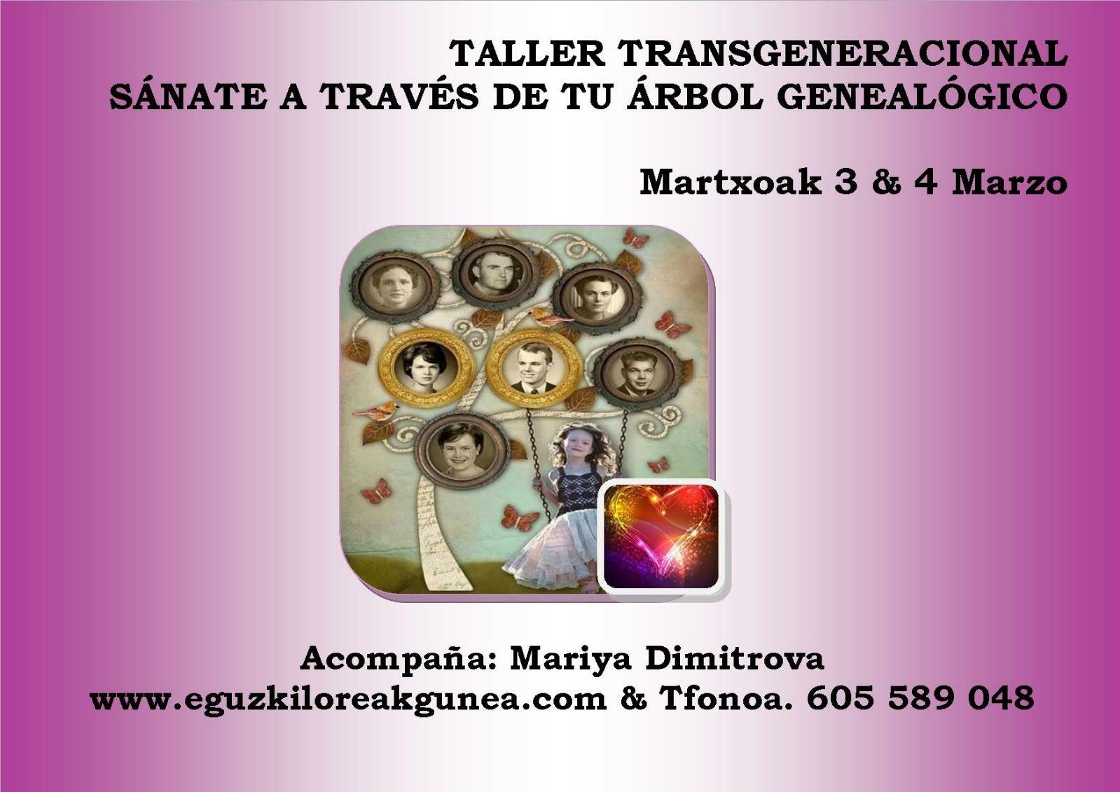 TALLER TRANSGENERACIONAL CON MARIA DIMITROVA EN EGUZKILOREAK 3 y 4 de MARZO