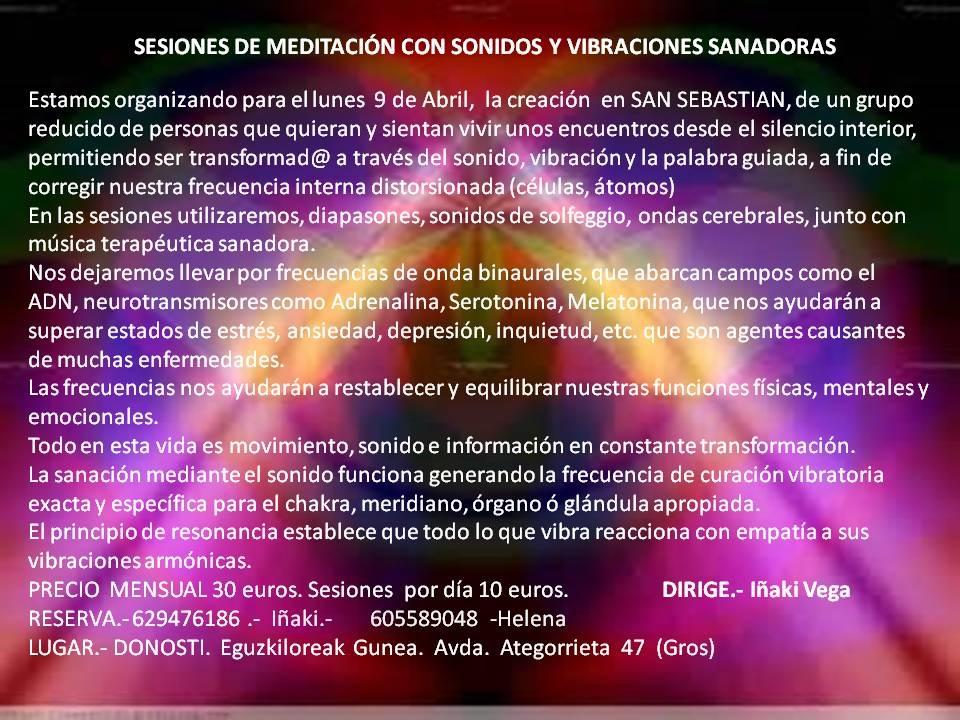 MEDITACIÓN CON SONIDO Y VIBRACIONES SANADORAS CON IÑAKI VEGA EN EGUZKILOREAK EL 9 DE ABRIL!!!